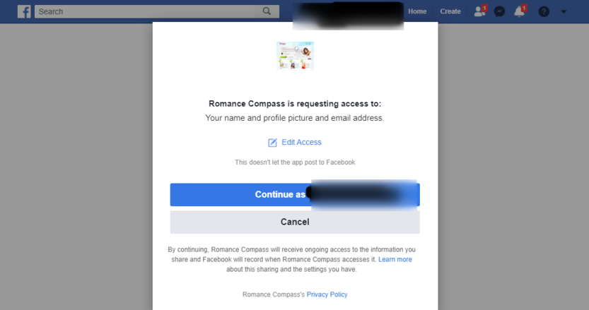 Romance Compass Sign Up with Facebook