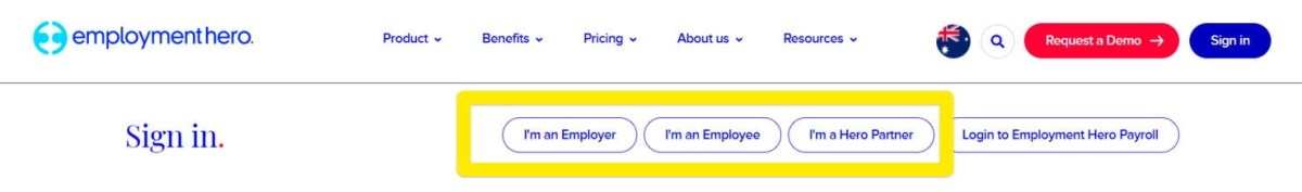 Employment Hero Sign Up