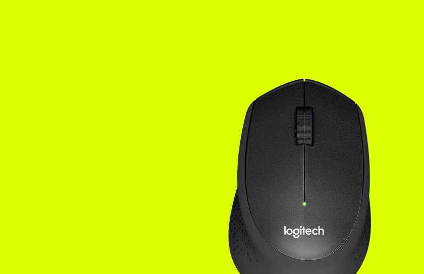 Birds eye view of M330 mouse with yellow background