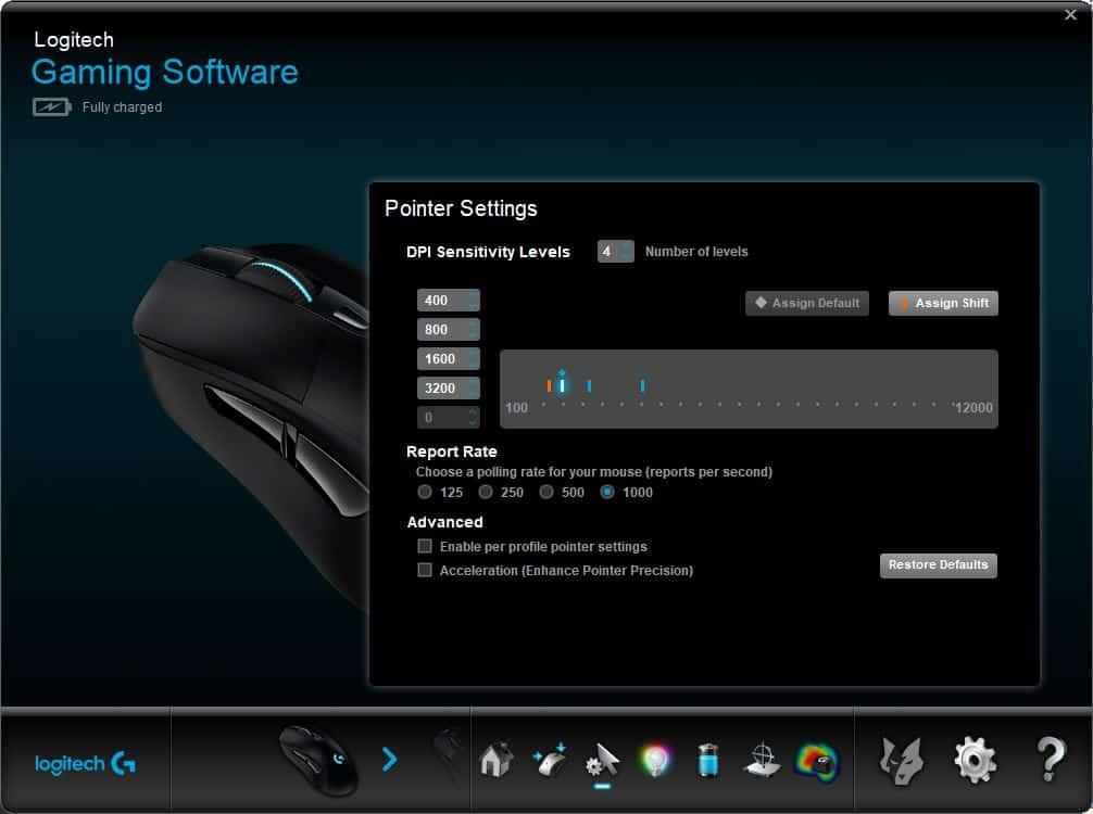 logitech mouse software DPI sensitivity levels increment