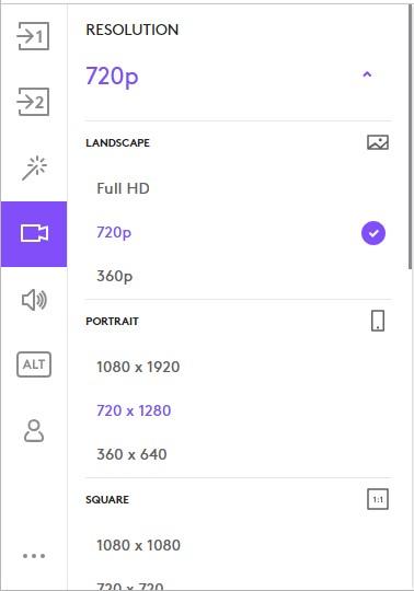 Logitech C920 change resolution