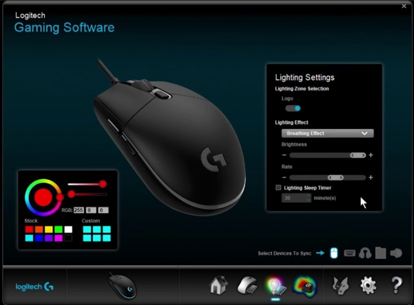 Logitech G203 color settings