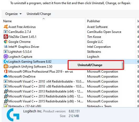 uninstalling outdated Logitech software
