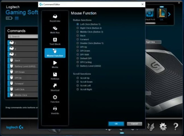 mouse functions G602