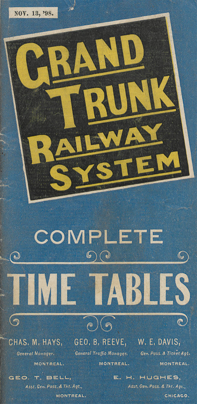 Grand Trunk Railway System timetables