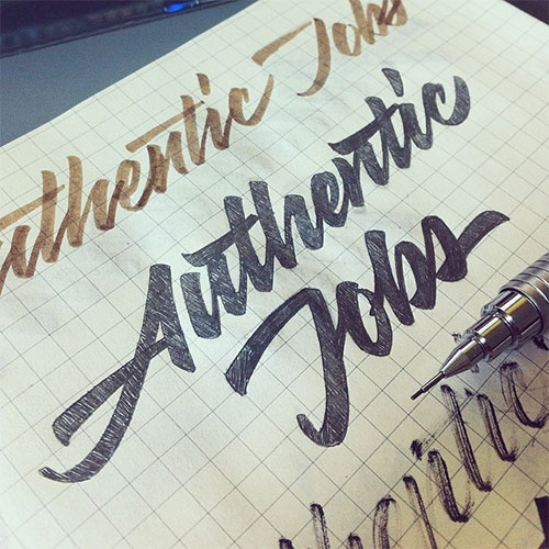Authentic Jobs logo sketch