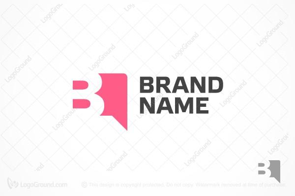 Letter B In A Speech Bubble Logo