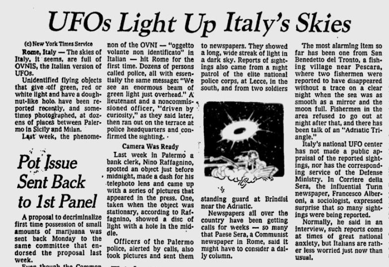 1973 UFOs Light Up Italy's Skies