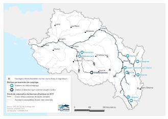 Fronts de colonisation du Saumon atlantique sur les cours d'eau du bassin de la Loire en 2017