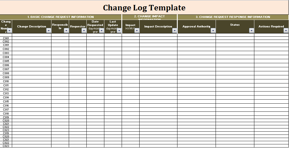 Change log template free log templates for Change log template project management