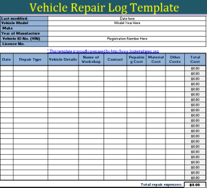 Vehicle repairing log Template