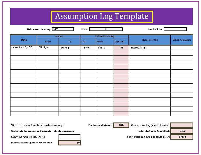 mix assumption log template