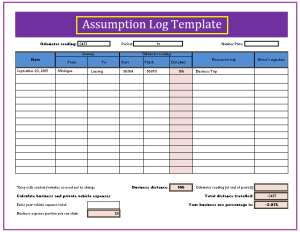 Assumption Log Template