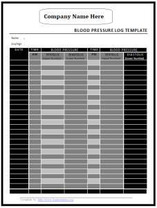 blood pressure readings log