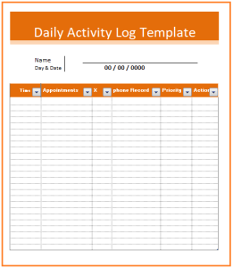 Activity log templates 2 ms word excel free log for Daily work record template