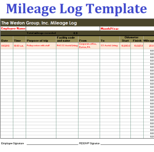 template mileage log