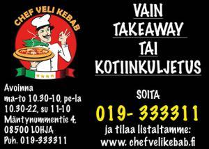 Chef Veli Kebab nouto- tai kotiinkuljetuksella ruoat