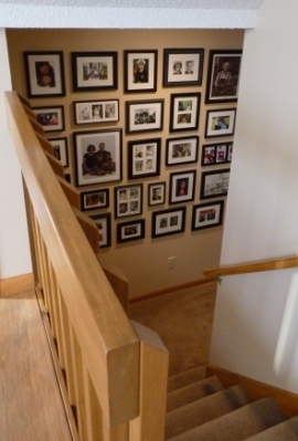 Photo wall on basement landing
