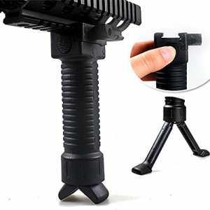 WorldShopping4U Tir tactique poignée Airsoft Paintball Weaver Facile Bouton bipied Fore Grip ajustement 20mm RIS rail Black