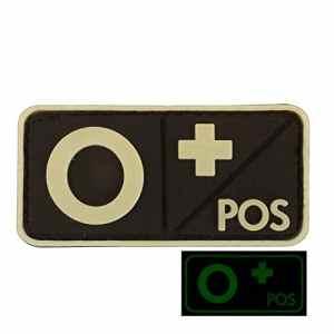 O POS Groupe Sanguin GITD Lumineux PVC Gomme 3D Velcro Écusson Patch