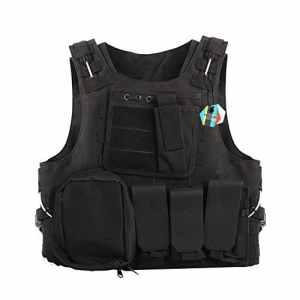 Pellor Militaire Gilet Tactique Amphibie Molle Veste de Protection pour Combat Réel Police Armé CS RAS Airsoft Paintball (Noir)