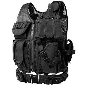 Gilet tactique réglable avec clip ceinture et poches–gilets Molle tactique militaire spécialement conçu pour les, CS Champ, SWAT, police, police et extérieur modulaire Assault Gilet