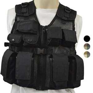 Nitehawk – Gilet tactique/de combat – style militaire/police – enfant – Noir