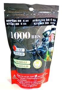 SACHET DE 1000 BILLES BLANCHES 0.20 G CALIBRE 6 MM P&J GUNS PRENIUM 899452 PISTOLET FUSIL AIRSOFT