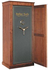 Infac – Coffre fort Infac Wood Cover Safe 18 armes avec lunettes + étagères amoviles [noyer]