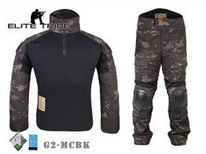Airsoft Chasse tactique militaire BDU Convient G2de combat uniforme Chemise Pantalon Multicam Noir