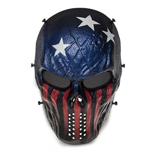 Queenshiny® Skull Airsoft Paintball Masque complet protection militaire Costume Halloween (Capitaine)