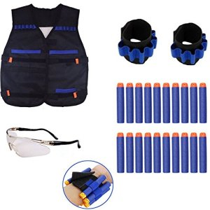 Nerf War Tactical Rifle Stock Dart Equipment Set pour Nerf N-strike Elite Series Blasters Toy Gun (2 Wrister + 1 Veste Tactique Veste + 1 Lunettes de protection Lunettes + 10pcs Blue Foam Darts)