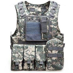 Gilet tactique d'air soft, paintball, gilet tactique militaire molle pour jeu de chasse et de tir en plein air, ACU Camouflage