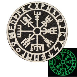Glow Dark Vegvisir Viking Compass Norse Rune Morale Tactical Sew Thermocollant Écusson Patch