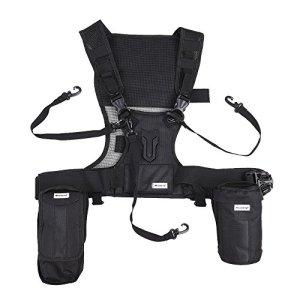 Micnova Mq-msp07 extérieur Photographie Multi Camera Carrying Gilet de transport Système de harnais de poitrine avec lentille lampe de poche Sacs trépied support pour sangles de sécurité pour Canon Nikon Sony DSLR Camera