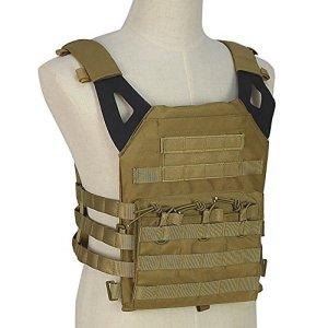 OUTRY Plaque Gilet, Molle Veste tactique – 2 Eva ballistic plaques inclus – Gilet militaire tactique pour pour airsoft Paintball CS (Coyote)