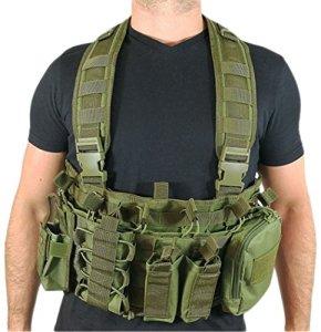 oslotex osl337Gilet tactique d'airsoft, Mixte Adulte, Vert militaire, Taille Unique