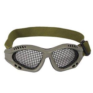 Tactical Military Metal Mesh Goggles Lunettes de tir Masque Airsoft Pour CS Shooting Casque de Chasse Lunettes de Protection (Olive)