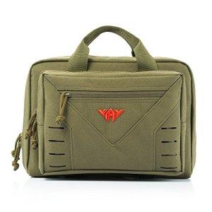 YAKEDA Tactical Shooting Gun Range Sac Tactique Pistol Range Go Bag Avec Bandoulière réglable 10L-A88080 (vert)