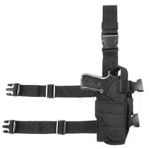 GES Tactique Pistolet Étui pour cuisses Réglables sacs de drop Pistol pour Les shooters droitiers (Noir)