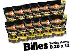 Airsoft SWISS ARMS billes 0.20 swiss arms x 12