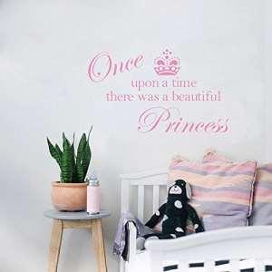 Reixus (TM) princesse couronne mignon autocollants devis de mur, d¨¦coration autocollant autocollant princesse chambre des filles [Soft Pink]