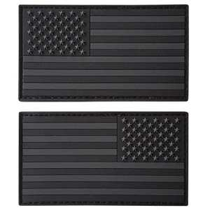 Set of 2 All Black ACU Dark Fastener PVC Gomme Patches USA American Drapeau Morale Armée