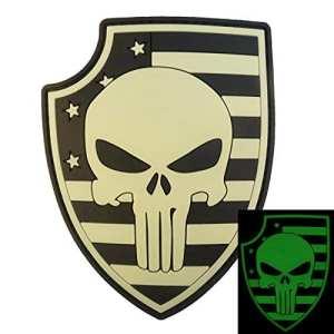 3D Glow Dark Punisher Shield Thin Blue Line USA Drapeau PVC Gomme Fastener Écusson Patch