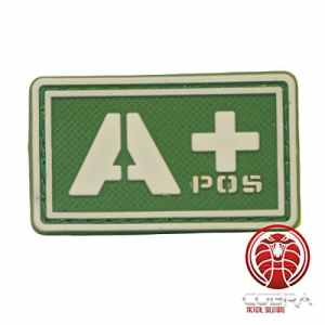 Cobra Tactical Solutions 3D PVC Military Patch Blood Type A POS Fluo Green with Velcro