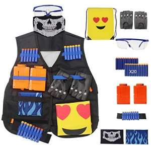 Gilets tactiques pour Nerf Gun, N-Strike Elite Jacket Kits Gants Rivet, Lunettes, Masque, 6-fléchettes Clips de rechargement, Hand Wrist Band, Recharge Bullet fléchettes, sac à dos