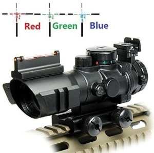 UUQ 4X32 RGB triple BDC illuminé Gamme Rapide réticule prismatique compact lunette de visée Avec vue à top fibre optique et Tisseur de fentes (12 mois de garantie)