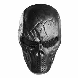 Unomor Skull Paintball Masque Halloween Plein Airsoft Masque – Noir
