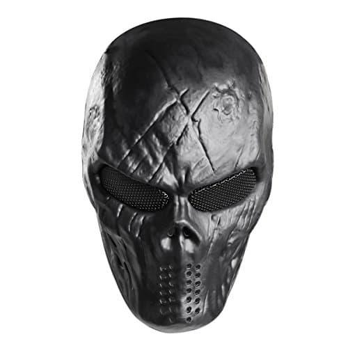 Unomor Skull Paintball Masque Halloween Plein Airsoft Masque–Noir