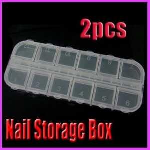 2 X Clear Empty Storage Box Case Nail Art Acrylic Glitter Rhinestones Decoration